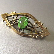 Petite Peridot GF Brooch For Doll Signed JHP