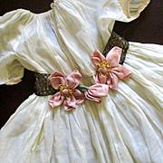 Edwardian/Deco Metallic Doll Sash Pink Silk Flowers