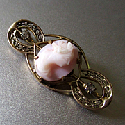 Lovely Pink Cameo Gilt Brooch For Doll Signed