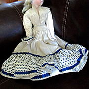 Antique Silk 2 Piece Dress For Fashion Doll Needs Completion