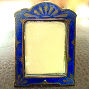 Art Deco Cobalt Enameled Miniature Frame With Glass