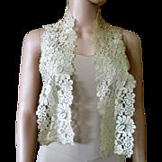 Art Deco Silk Lace Floral Long Scarf
