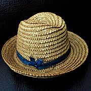 Vintage Straw Small Teddy Bear Fedora