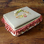 French Silk Floral Embroidered Sewing Box Silk Thread