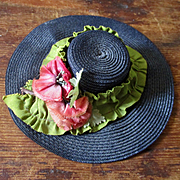 Beautiful Raffia Doll Hat Chiffon Poppies