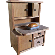 Dollhouse Bread Table Hutch With Miniature Loaf