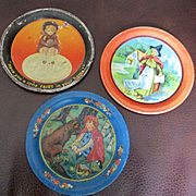 3 Art Deco Doll's Tin Plates Ohio Art Fairy Soap