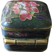 Tiny Cloisonné Brass Box For Ring Or Doll Accessory