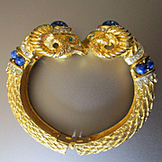 1960's Cobalt Cadoro Double Ram's Head Hinged Cuff Bracelet
