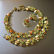 Pretty Enameled  BSK Demi Parure Great Autumn Colors