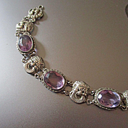 Art Deco Renaissance Revival Sterling Amethyst Bracelet With Masks