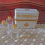 Large Limoges Triple Perfume Gilt Porcelain Box With Bee