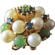 Beautiful Jeweled 14K Clasp Pearls Jade Emeralds Sapphires