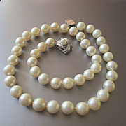 Lustrous Cultured Pearl Choker Sterling Pearl Clasp