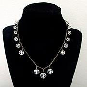 Art Deco Rock Crystal Sterling Necklace Faceted Balls
