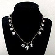 Art Deco Rock Crystal Sterling Necklace Faceted Balls