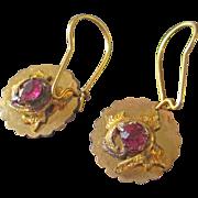 Dainty Gold Plated Amethyst Glass Earrings