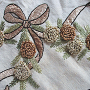 Antique Silk Thread Remnant Pinecone Pine Needles