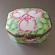 Deco Design Limoges Hand Peint Main Porcelain Box Signed MC