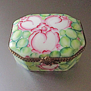 Deco Design Limoges Hand Peint Main Porcelain Box Signed MC