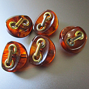 Art Deco Apple Juice Carved Bakelite Buttons 5