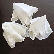 3 Antique Lace Wedding Hankies Pointe Esprit Net