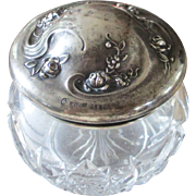 Antique Art Nouveau Vanity Powder Box Roses Woodside Sterling 19C