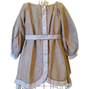 Edwardian Girl's Fancy Gingham Dress Calico Buttons