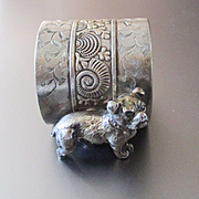 Victorian Silver Plate Bull Dog Napkin Ring Rare