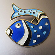 David Anderson Enameled Sterling Fish Brooch
