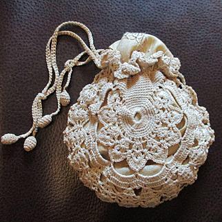 Pretty Doll Sized Irish Crocheted Reticule With Silk Hankie