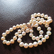 Beautiful Soft Slight Blush Pearls 14K Clasp