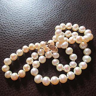 Beautiful Soft Slight Blush Pearls 14K Clasp