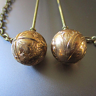 Victorian Gold Filled Chatelaine Pins Balls