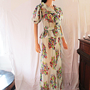 Art Deco 1930's Floral Chiffon Gown With Peplum