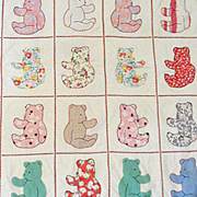 1930's-40's Teddy Bear Quilt