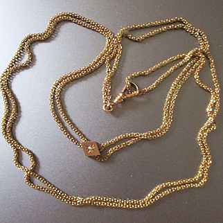 Victorian Gold Filled Chain Slide Pearl
