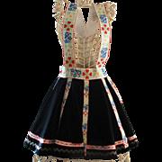 Vintage Alpine Velvet Embroidered Girl's Skirt Suspenders