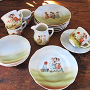 Antique German Doll Dishes Children Playing, Dollies Etc.