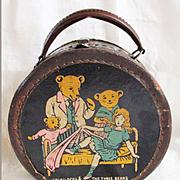 Scarce 1930's Patent Leather 3 Bears Goldilocks Suitcase