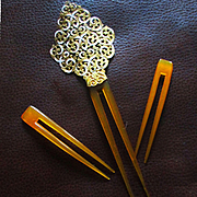 Art Nouveau Enameled Hair Comb Matching Pins Wedding