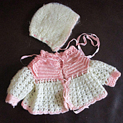 Matching Knit Sweater Jacket Bonnet