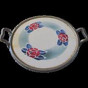 Porcelain Stenciled Tea Tray Roses