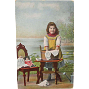 1906  German Hand Colored Card Girl Washing With Dollies
