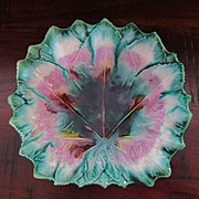 Etruscan Maple Leaf Shaped Majolica Plate