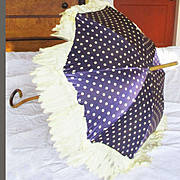Victorian Purple Polka Dot Silk Doll Parasol