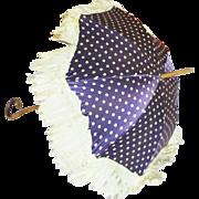 Victorian Purple Polka Dot Silk Doll Parasol