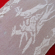 Vintage Christmas Crocheted Filet Reindeer Holly Leaves Table Cloth