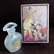 Art Deco Hudnut 3 Flowers Perfume NY Bottle RARE Box