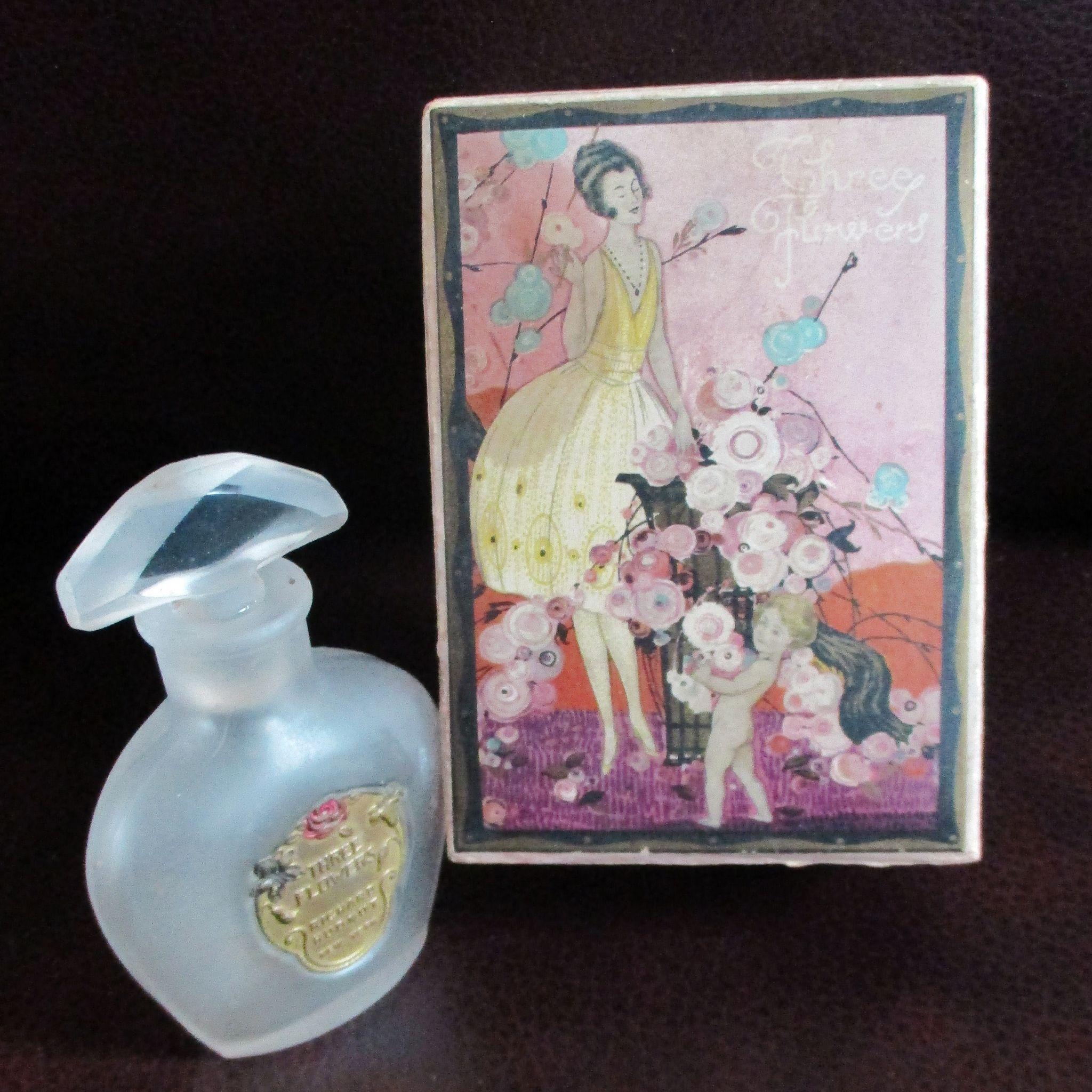 Art Deco Hudnut 3 Flowers Perfume NY Bottle RARE Box
